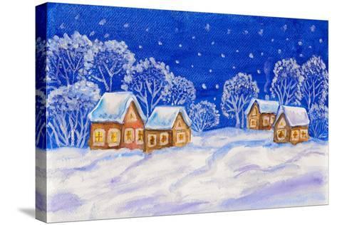 Winter Landscape On Dark Blue Sky-Iva Afonskaya-Stretched Canvas Print