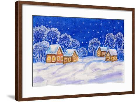 Winter Landscape On Dark Blue Sky-Iva Afonskaya-Framed Art Print