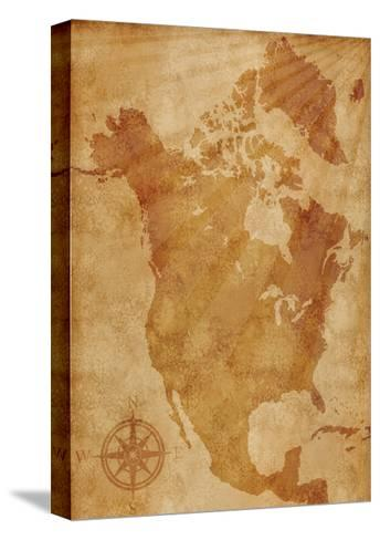 North America Map Illustration- alehnia-Stretched Canvas Print