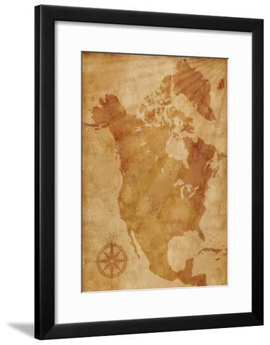 North America Map Illustration- alehnia-Framed Art Print
