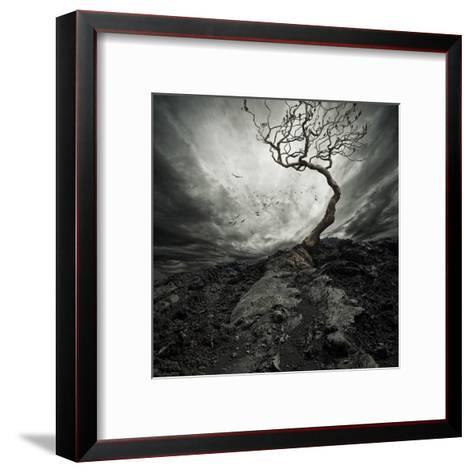 Dramatic Sky Over Old Lonely Tree-NejroN Photo-Framed Art Print
