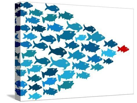 Fishes In Group Leadership Concept-mypokcik-Stretched Canvas Print