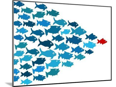 Fishes In Group Leadership Concept-mypokcik-Mounted Art Print