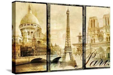 Paris - Old Photo-Album Series-Maugli-l-Stretched Canvas Print