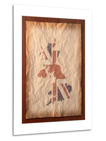 Vintage Uk Map On Paper Craft-vichie81-Metal Print