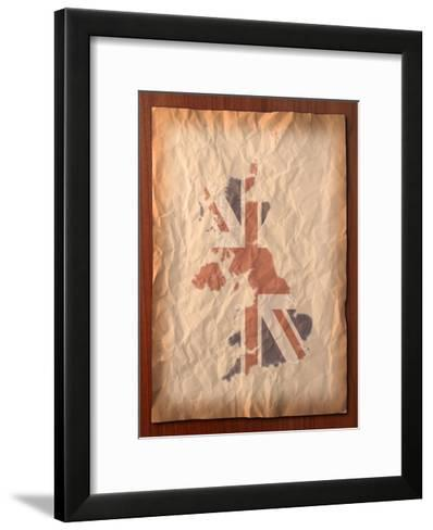 Vintage Uk Map On Paper Craft-vichie81-Framed Art Print