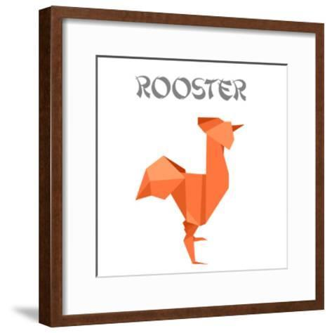 Illustration Of An Origami Rooster-unkreatives-Framed Art Print
