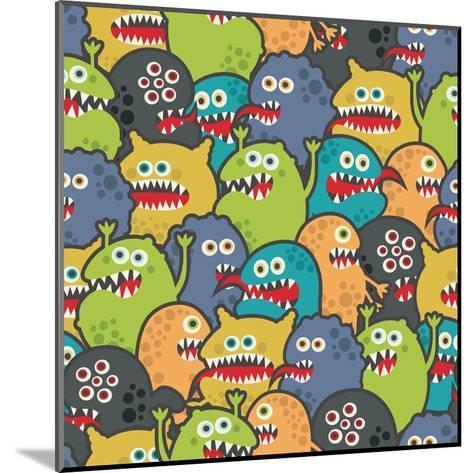 Cute Monsters Seamless Texture-panova-Mounted Art Print