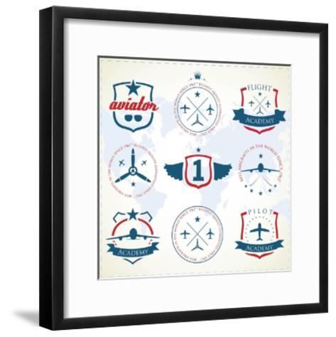 Set Of Vintage Aviation Labels-Tur-Framed Art Print