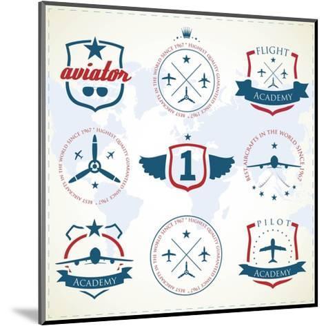 Set Of Vintage Aviation Labels-Tur-Mounted Art Print