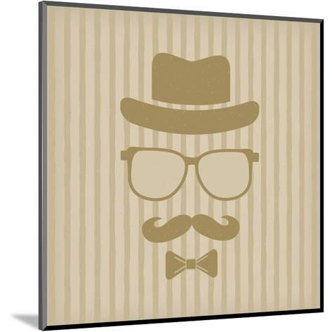 Hipster'S Hat, Glasses, Moustache-marina_abcd-Mounted Art Print