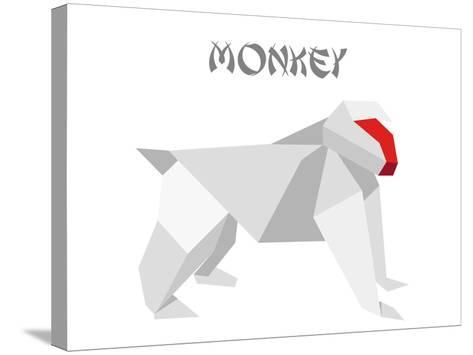 Illustration Of An Origami Monkey-unkreatives-Stretched Canvas Print