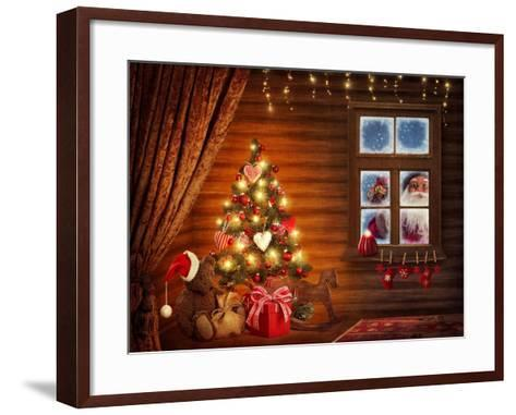 Room With Christmas Tree-egal-Framed Art Print