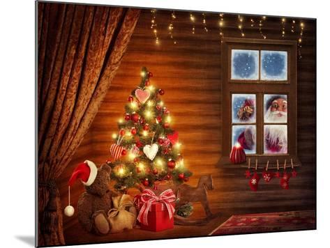 Room With Christmas Tree-egal-Mounted Art Print