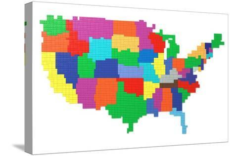 Toy Bricks American Map-nmcandre-Stretched Canvas Print