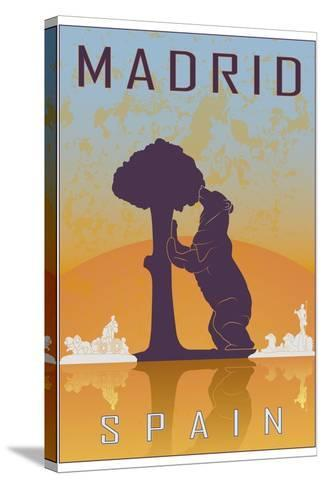 Madrid Vintage Poster-paulrommer-Stretched Canvas Print