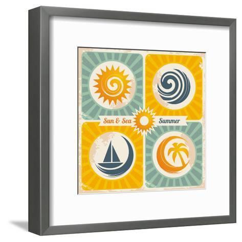 Retro Summer Holiday Poster-Lukeruk-Framed Art Print