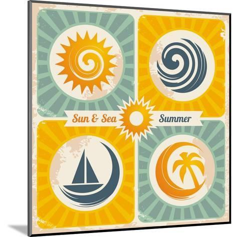 Retro Summer Holiday Poster-Lukeruk-Mounted Art Print