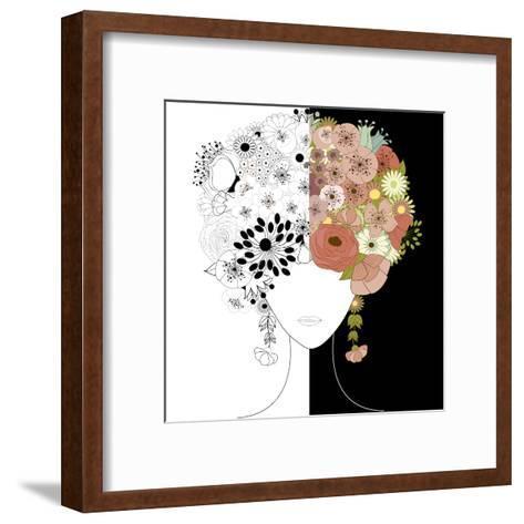 Woman Floral Silhouette-Rouz-Framed Art Print