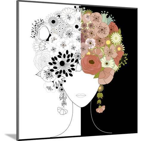 Woman Floral Silhouette-Rouz-Mounted Art Print