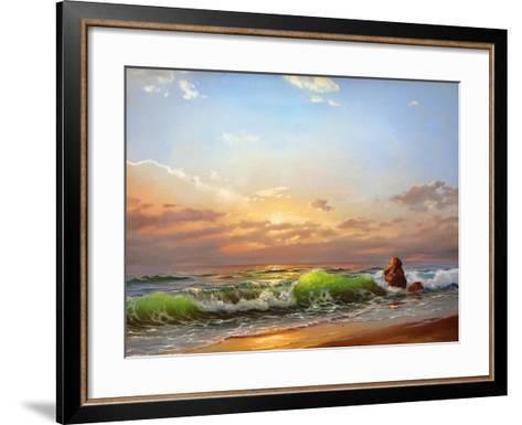 Sea Landscape On A Sunset-balaikin2009-Framed Art Print