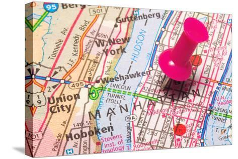 A Push Pin In New York- robeo-Stretched Canvas Print