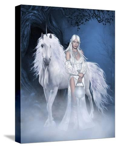 Unicorn And Beautiful Fairy-olbor-Stretched Canvas Print