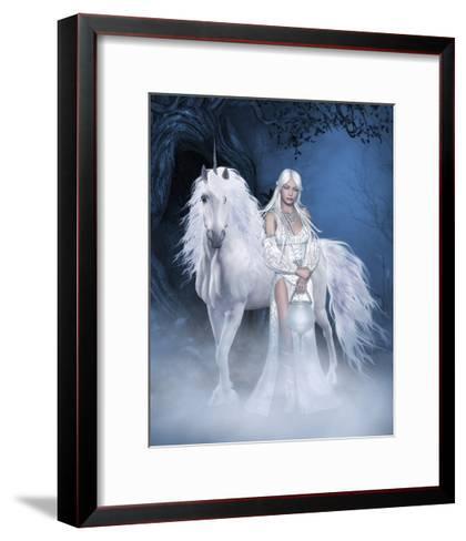 Unicorn And Beautiful Fairy-olbor-Framed Art Print