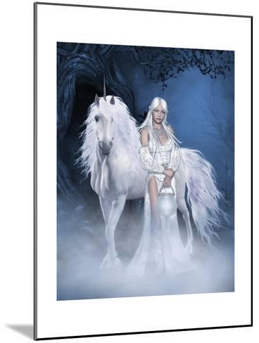 Unicorn And Beautiful Fairy-olbor-Mounted Art Print
