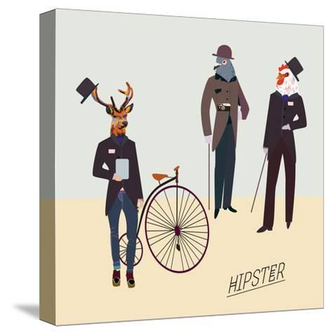 Retro Animals Hipster Like-run4it-Stretched Canvas Print