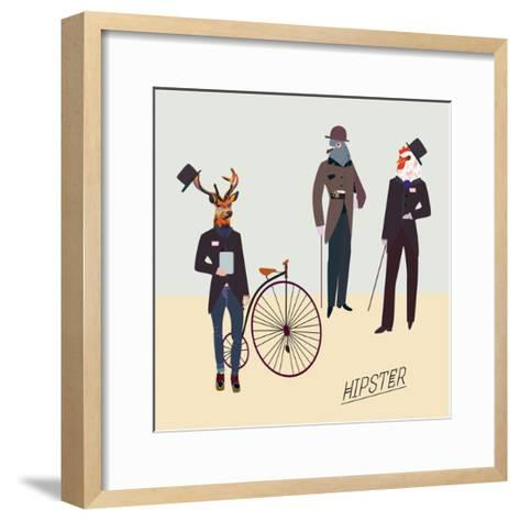 Retro Animals Hipster Like-run4it-Framed Art Print