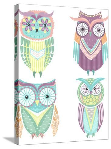 Set Of Cute Colorful Owls-cherry blossom girl-Stretched Canvas Print