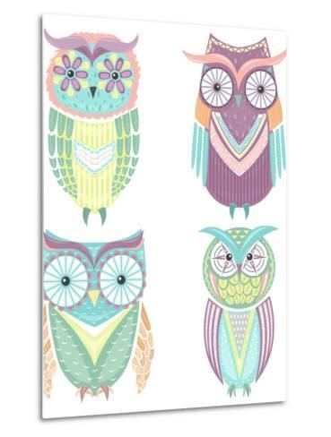 Set Of Cute Colorful Owls-cherry blossom girl-Metal Print