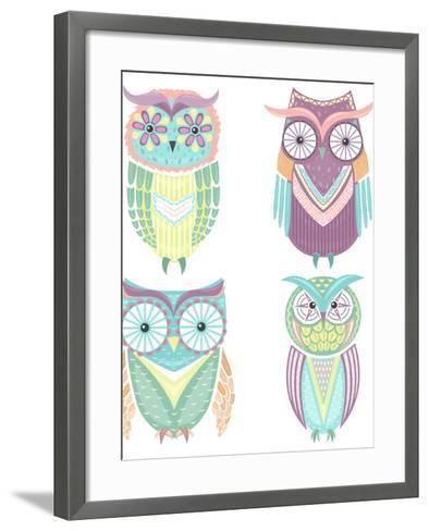 Set Of Cute Colorful Owls-cherry blossom girl-Framed Art Print