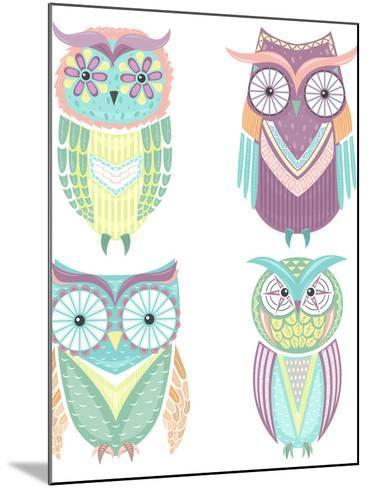 Set Of Cute Colorful Owls-cherry blossom girl-Mounted Art Print