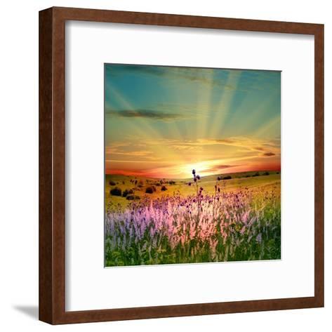 Sunset Is In The Field-nadiya_sergey-Framed Art Print