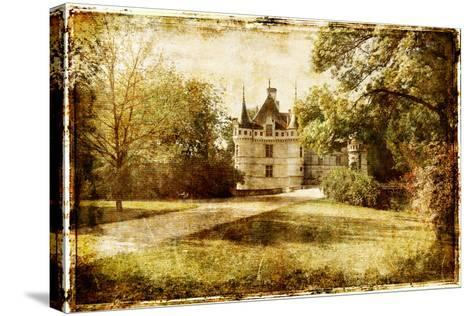 Vintage Picture With Castle-Maugli-l-Stretched Canvas Print