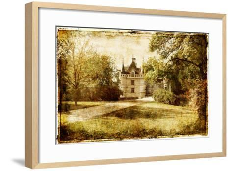 Vintage Picture With Castle-Maugli-l-Framed Art Print