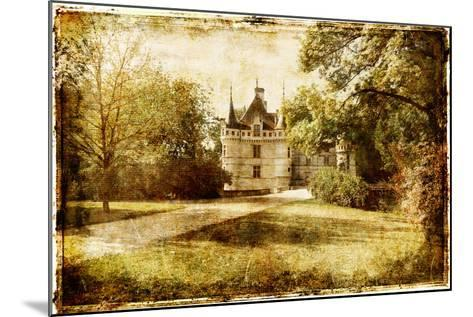 Vintage Picture With Castle-Maugli-l-Mounted Art Print