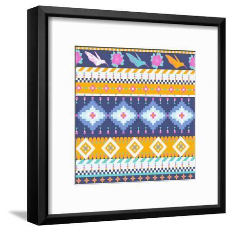 Aztec Pattern-tomuato-Framed Art Print