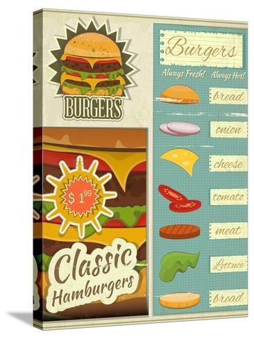 Burgers Menu Set Retro-elfivetrov-Stretched Canvas Print