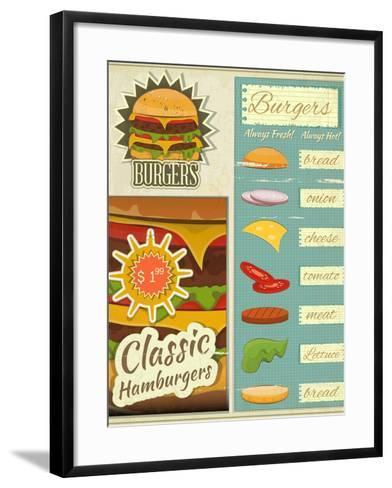 Burgers Menu Set Retro-elfivetrov-Framed Art Print