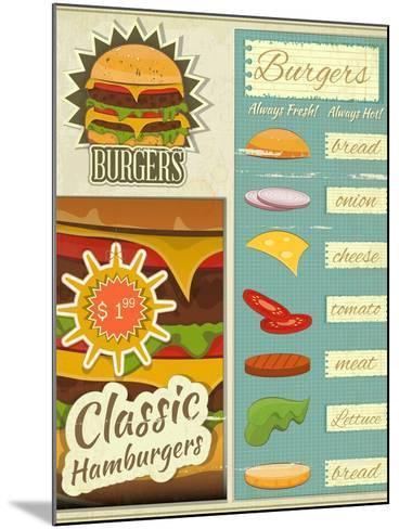 Burgers Menu Set Retro-elfivetrov-Mounted Art Print