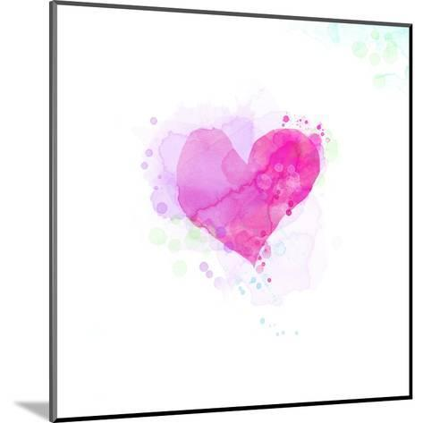 Painted Watercolor Heart-lozas-Mounted Art Print
