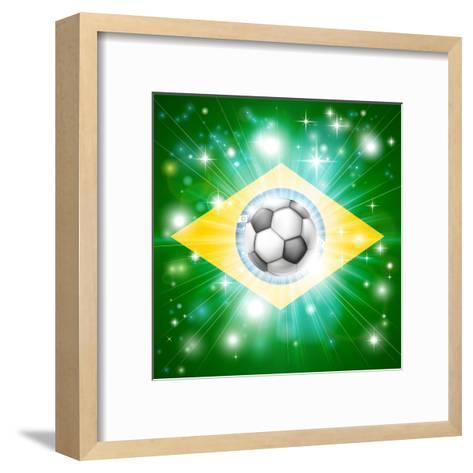 Brazil Soccer Flag-Krisdog-Framed Art Print