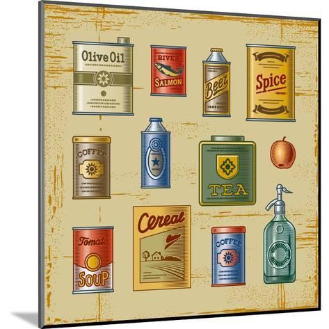 Retro Grocery Set-Oleg Iatsun-Mounted Art Print