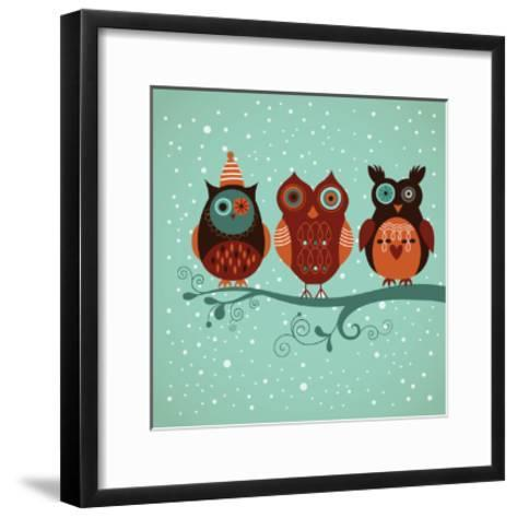 Winter Owls-lenlis-Framed Art Print