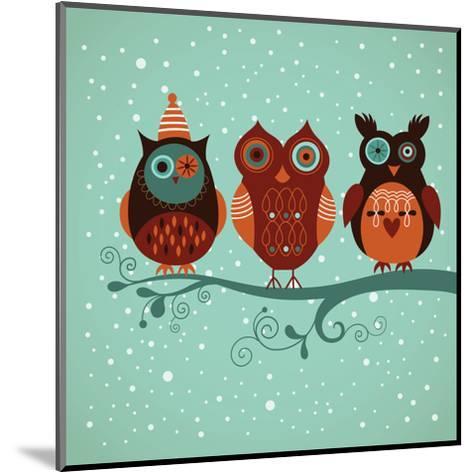 Winter Owls-lenlis-Mounted Art Print