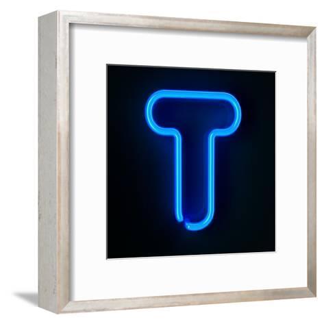 Neon Sign Letter T-badboo-Framed Art Print