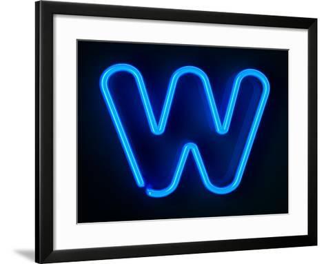 Neon Sign Letter W-badboo-Framed Art Print